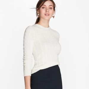 Brooks Brothers Womens White Cable Knit Sweater S